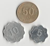 Zestaw 3 monet MALEDIWY 1984