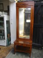 Duże zabytkowe lustro dębowe z konsolką i szuflad