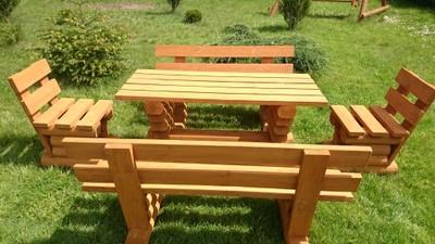 Meble Ogrodowe Drewniane Masywne Transport Gratis 6746105417