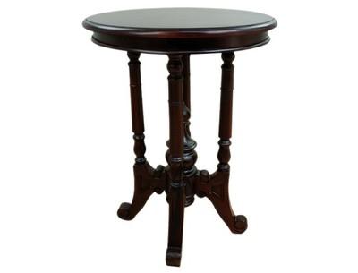 Mały Stolik Kawowy Okrągły Stylizowany Drewniany 6860712481
