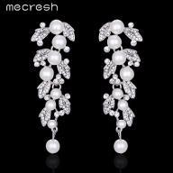 biżuteria ślubna długie kolczyki perły cyrkonie