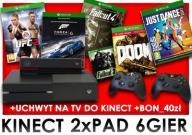XBOX +2PAD+KINECT+UCHWYT POD TV +6 GIER+40 zł