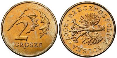 1765. SKRĘTKA (90st) - 2 grosze 2007 - st.2+