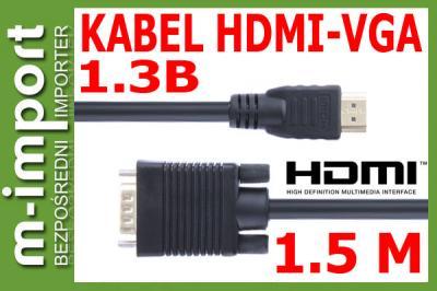 ~KRÓL!! KABEL HDMI-VGA 1,5M DUAL 1,3b ~ GOLD HD8~