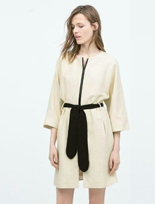 płaszcz kimono biały kremowy Zara z paskiem czarny