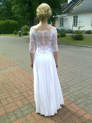 Suknia ślubna Koronkowa Prosta Z Rekawkiem 34 6897155513