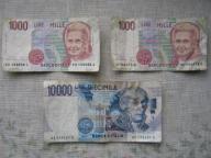 Lir włoski - zestaw banknotów 2 x 1000 i 1 x 10000
