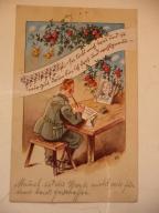 pocztówka Żołnierz pisze list