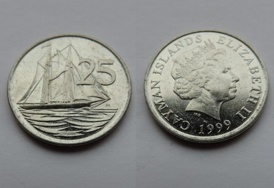 CAYMAN ISLANDS 25 CENTS 1999
