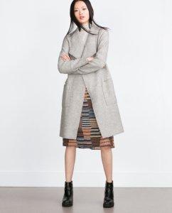 szary wełniany płaszcz z klapami Zara M 38