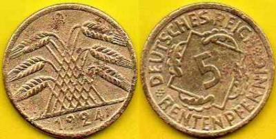 NIEMCY  5 Rentenpfennig  1924 r  A