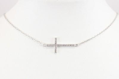 Łańcuszek naszyjnik celebrytka Krzyżyk srebro 925