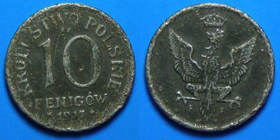 POLSKA (OKUPACJA NIEMIECKA), 10 FENIGÓW 1917FF