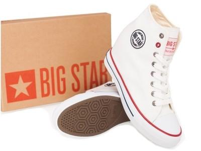 Buty damskie BIG STAR trampki na koturnie białe