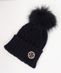 14a49e5801091 Michael Kors czarna czapka angora pompon lis futro - 5920145974 ...