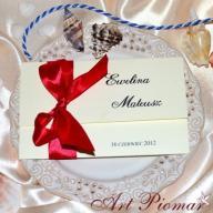 Zaproszenia na ślub ślubne MAGNOLIA z kokardką