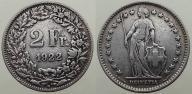 1922 Szwajcaria,2 franki,ladne srebro
