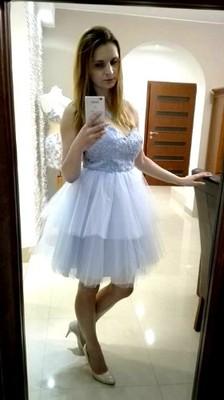72cbc4ae68 sukienka tiulowa miara - 6634681318 - oficjalne archiwum allegro