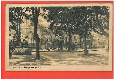 GLIWICE FRAGMENT PARKU POCZTÓWKA LATA OK 1950