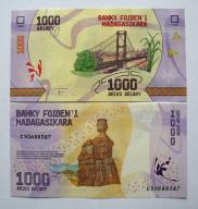 Madagaskar 1000 Ariary 2017 P-New UNC PIĘKNY !!!!!