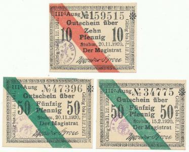 202. Stuhm (Sztum), 10pf, 50pf IIIc i IIId 1920