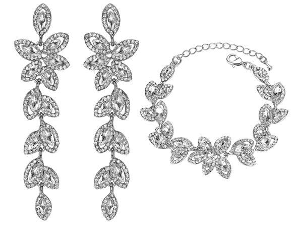 Kryształowy komplet biżuterii ślubnej branzoletka