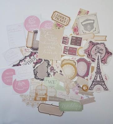 zestaw ozdób tekturki nalepki scrapbooking pink