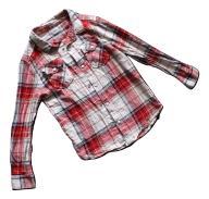 F&F koszula czerwona krata 134 8-9