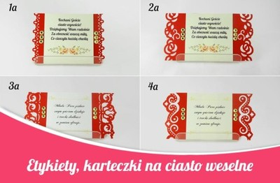 Karteczki Na Ciasto Weselne Etykiety Na Kolacz 5484167342 Oficjalne Archiwum Allegro