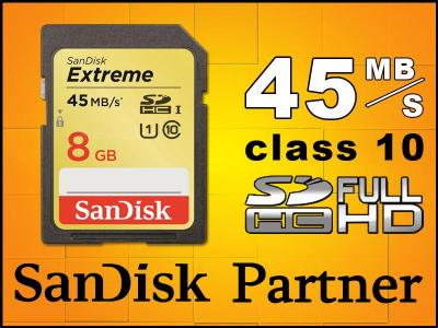 8GB SANDISK SD SDHC EXTREME HD 45MB/S CLASS 10 FV