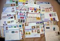 Zestaw ofrankowanych kopert z całego świata (77)