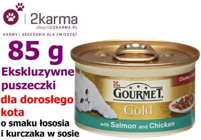 GOURMET GOLD KURCZAK I ŁOSOŚ 85g KAWAŁKI W SOS KOT
