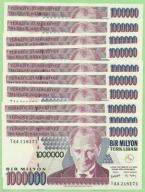 Turcja , 10 x 1 000 000 Lirasi , P213 , UNC