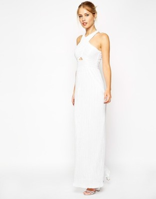 dbc6ff10cf ASOS sukienka maxi długa 34 XS biała nowa metki - 6929561750 ...