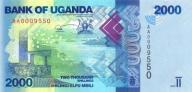 UGANDA 2000 Shillings 2010 P-50 SERIA AA UNC