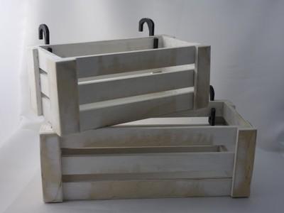Skrzynka Drewniana Z Uchwytami Na Balkon 52x22cm