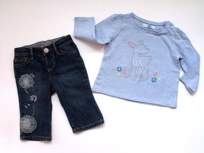 GAP__zestaw dziewczęcy bluzka + miękkie jeansy__68