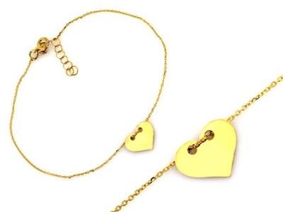 Złota bransoletka celebrytka 333 serduszko TANIO