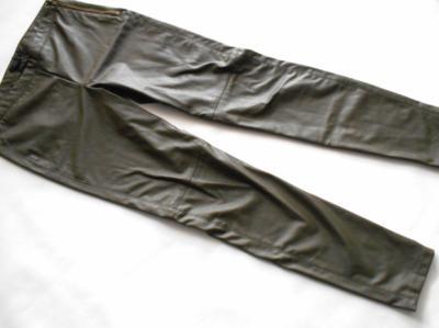 H&M spodnie a la SKÓRA skórzane khaki M