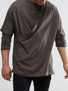 a38 T shirt męski exASOS khaki luźny oversize S