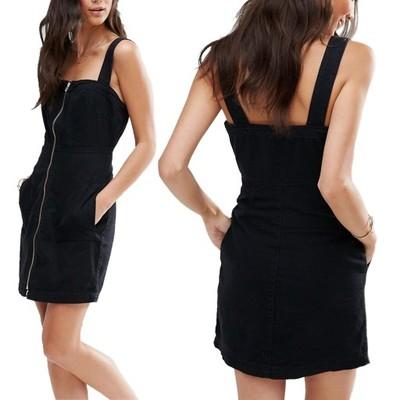 8b73881d33 D1 VILA Czarna Jeansowa Sukienka z zamkiem M   38 - 6787844529 ...