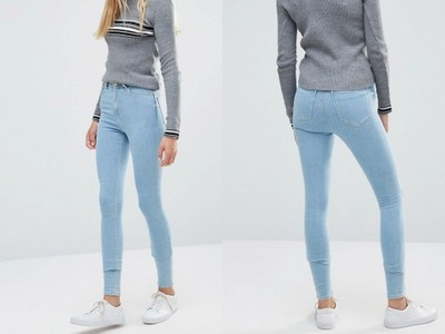 82659601727cbe Niebieskie jasne jeansy wysoki stan skinny W28 L36 - 6997294227 ...