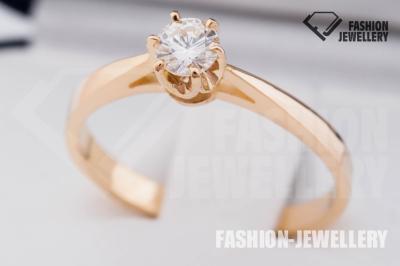 ZŁOTY 585 pierścionek zaręczynowy z BRYLANT. VVS