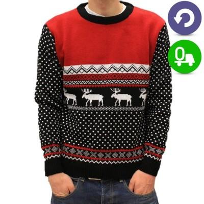 Sweterki Świąteczne CIEPŁE Maszerujące Renifery L-