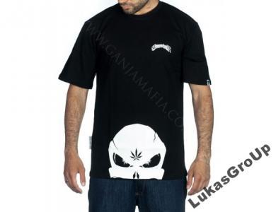 T-shirt GANJA MAFIA Cannabisher BIG Black Fluo r.L