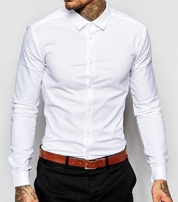 mh65 koszula męska ex Asos skinny biała bawełna M