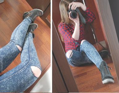 devi124 spodnie jeansy SKINNY dziury marmurki XS S