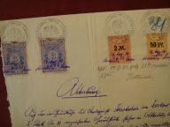 Pismo + znaczki opłaty z 1925 r. - ( 6 sztuk )