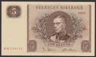 Szwecja - 5 koron - 1960 - stan UNC