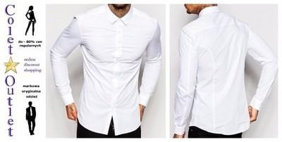 Ka4 koszula biała męska długi rękaw slim XXL